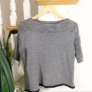 Loft striped black white knit blouse  sz XS